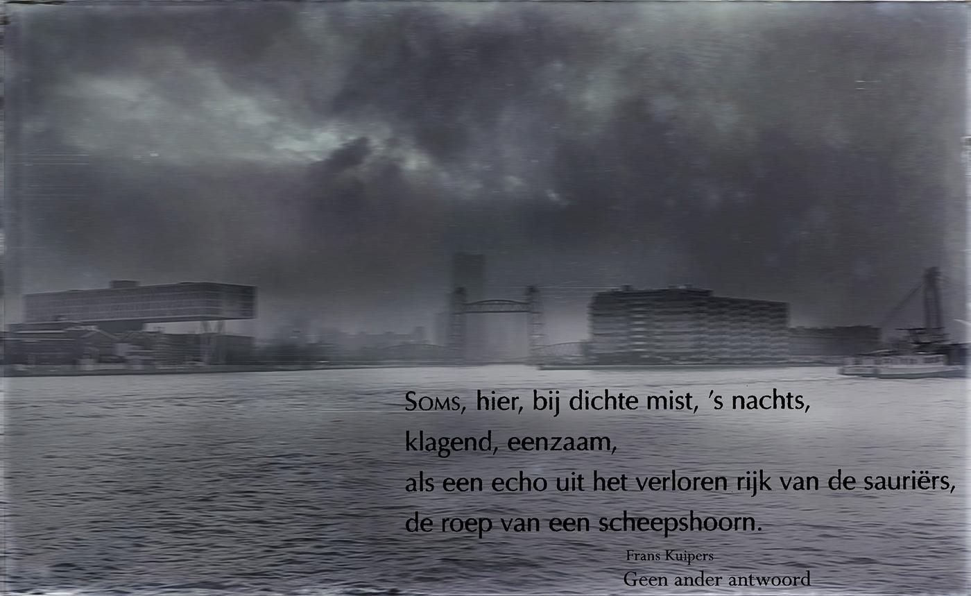 Postkaart 2017-12 Noordereiland bij mist